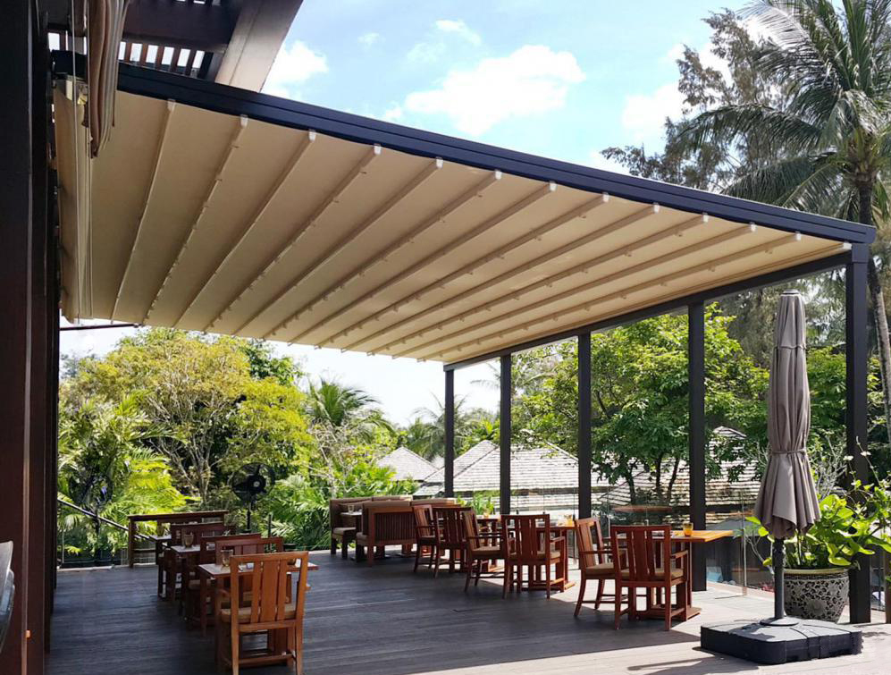 Outdoor Garden Patio Roof Free Standing Balcony Custom Aluminum Motorized Retractable Automatic Awning