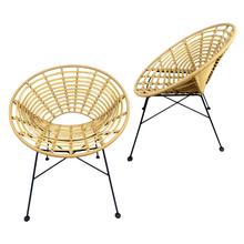 Bird's Nest Outdoor Patio Garden Home Bar Bistro Round Seat Iron Metal Wire Closely Bound PE Flat Wicker Rattan Chair
