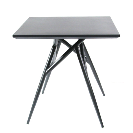 Square Aluminum Backyard Black Metal Patio Table