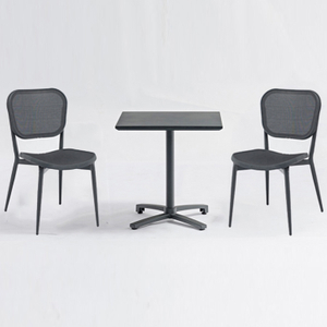 Cafe Restaurant Bistro Square Aluminum Textilene Table And Chairs