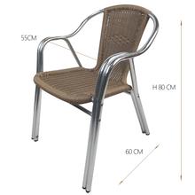 Wicker Rattan Round Double Aluminum Tube Chairs