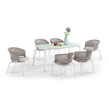 Cheap White Frosted Glass Top Dining Table And 6 Chairs Set Suppliers