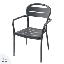 Beach Cafe Outdoor Stacking Aluminium French Bistro Arm Chair