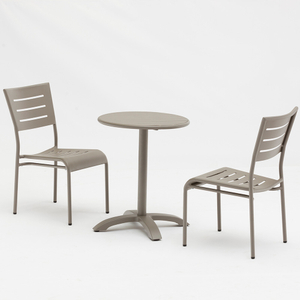 Bistro Garden Patio Aluminium Metal Dining Table And Chairs Set
