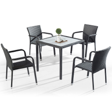 Bistro Garden Patio Outside Rattan Table Chairs Set