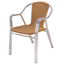 Hot Sale Modern China Supply Metal Aluminum Cafe Restaurant Outdoor Rattan Chair